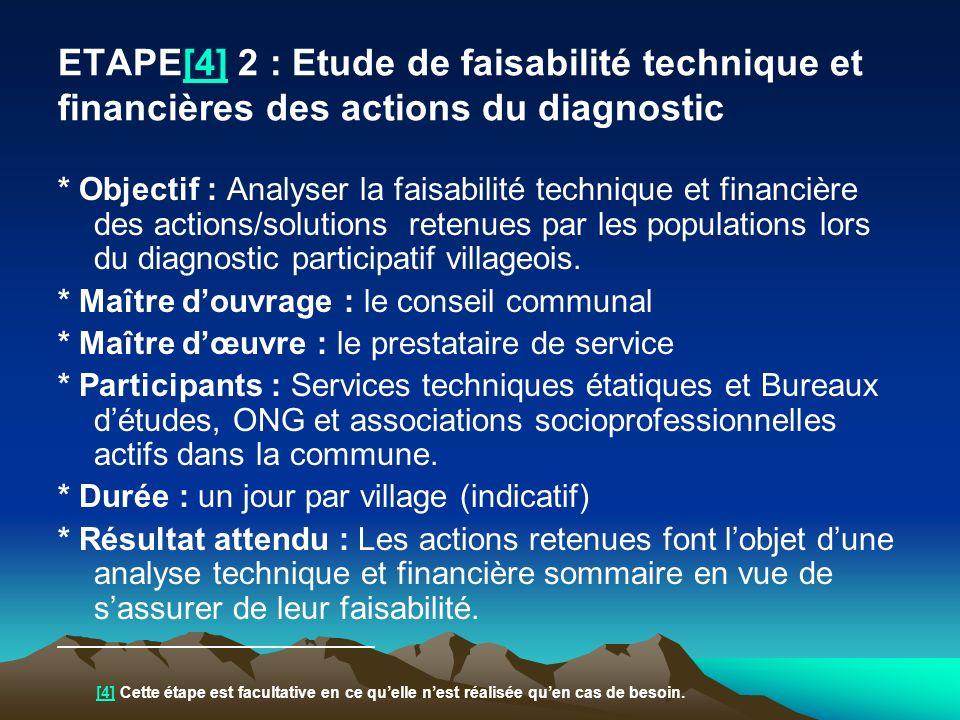 ETAPE[4] 2 : Etude de faisabilité technique et financières des actions du diagnostic